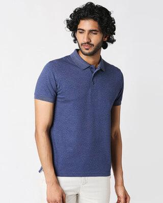 Shop Melange Navy Polo T-Shirt-Front