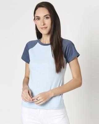Shop Women's Melange Half Sleeve Raglan T-Shirt-Front