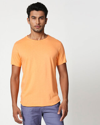 Shop Melon Orange Raw Edge Halfsleeve T-Shirt-Front
