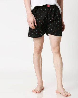 Shop Sketchy Details Black Men's Boxers-Front