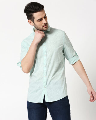 Shop Men AOP Slim Fit Casual Shirt-Front