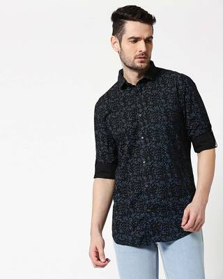 Shop Men Black AOP Slim Fit Casual Shirt-Front