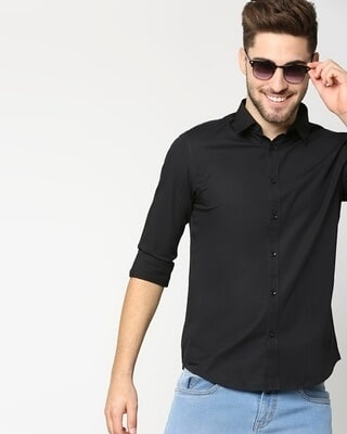 Shop Black Poplin Lycra Slim Fit Casual Shirt-Front