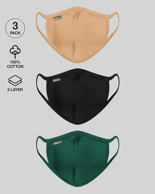 Shop Men's 2-Layer Everyday Protective mask - Pack of 3 (Dusty Beige-Jet Black-Dark Forest Green)-Front