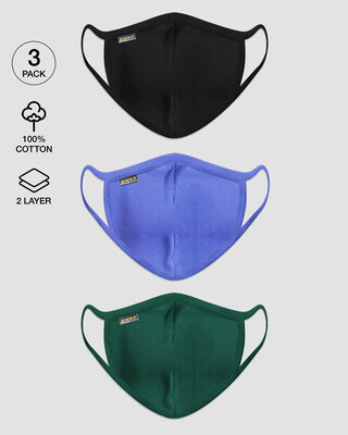 Shop Men's 2-Layer Everyday Protective mask - Pack of 3 (Jet Black-Blue Haze-Dark Forest Green)-Front
