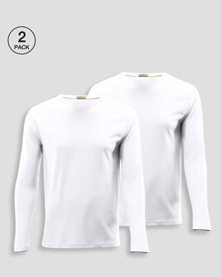 Shop Men's Plain Full Sleeve T-Shirt Pack of 2 (White)-Front