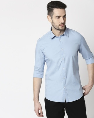Shop Men Lt Blue Poplin Lycra Slim Fit Casual Shirt-Front