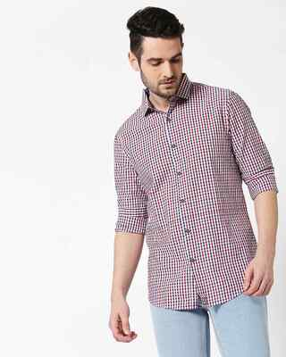 Shop Men Maroon Seersucker Slim Fit Casual Shirt-Front