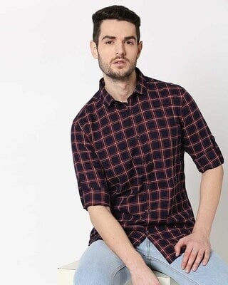 Shop Men Navy & Red Slim Fit Checked Casual Shirt-Front