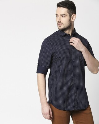 Shop Men Navy AOP Slim Fit Casual Shirt-Front