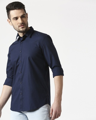 Shop Men Navy Poplin Lycra Slim Fit Casual Shirt-Front