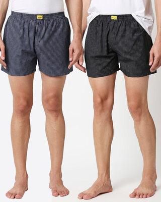 Shop Men One Back Pocket Boxer Combo-Front