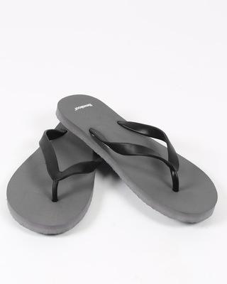 Men Overcast Grey Plain Flip Flops