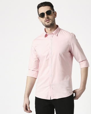 Shop Men Pink Poplin Lycra Slim Fit Casual Shirt-Front