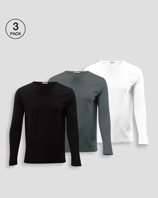 Shop Men Plain Full Sleeve T-Shirt Pack of 3 (Black, Grey & White)-Front