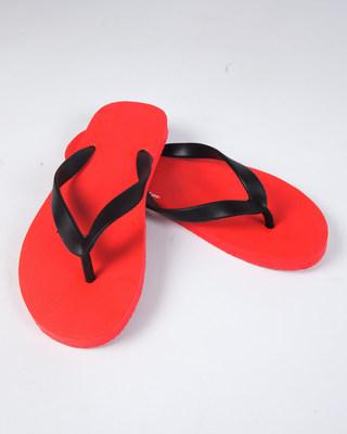 Men Racer Red Plain Flip Flops