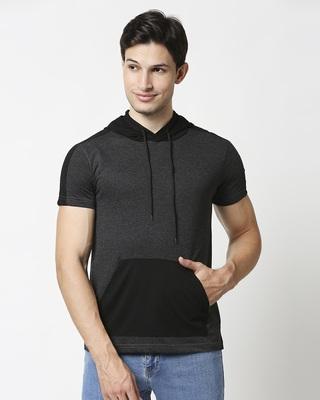 Shop Anthra Melange Contrast Pocket Hoodie T-Shirt-Front