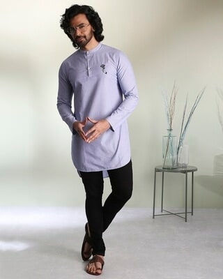 Shop Men's Blue & White Dobby Gulabo Embroidered  Kurta-Front