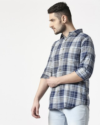 Shop Men's Blue Slim Fit Casual Indigo Shirt-Front