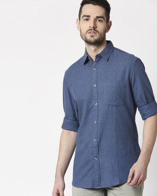Shop Men's Blue Slim Fit Casual Melange Shirt-Front