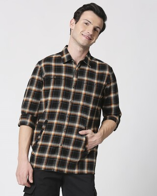 Shop Mens Checks Double Pocket Shirt-Front
