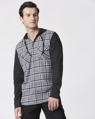 Shop Mens Checks Hoodie Shirt-Front
