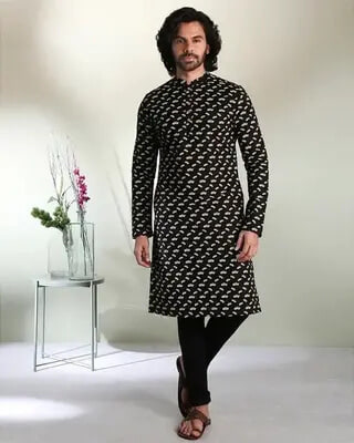 Shop Men's Chill All Over Printed Black Long Kurta-Front