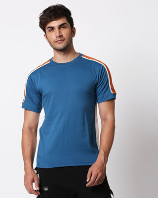 Shop Digi Teal Colorblock Half Sleeve T-Shirt-Front