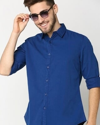 Shop Dark Blue Casual Over Dyed Shirt-Front