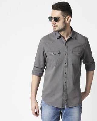 Shop Men's Dark Grey Casual Twill Over Dyed Slim Fit Shirts-Front