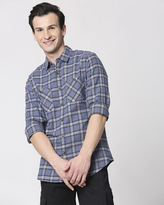 Shop Mens Checks Pocket Casual Shirt-Front