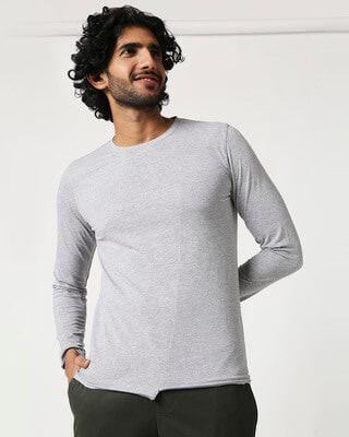 Shop Men's Full Sleeve Melange Cut & Sew T-Shirt-Front
