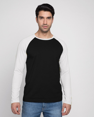 Shop Men's Full Sleeve Raglan T-Shirt (Black & White)-Front