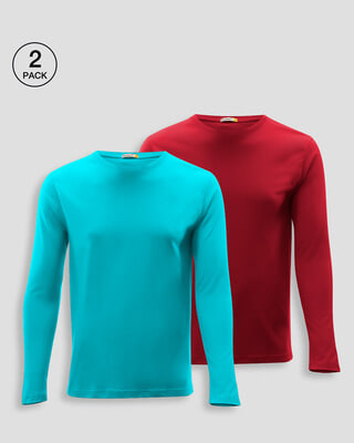 Shop Men's Plain Full Sleeves T-Shirt Pack of 2 (Tropical Blue & Bold Red)-Front