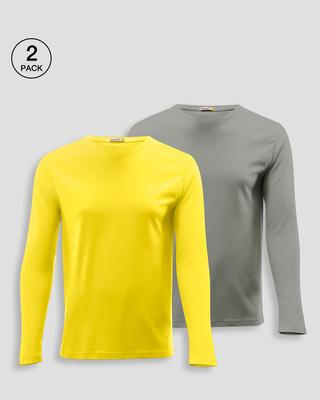 Shop Men's Plain Full Sleeves T-Shirt Pack of 2 (Pineapple Yellow & Meteor Grey)-Front