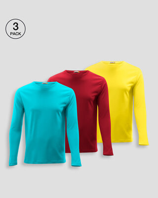 Shop Men's Full Sleeve T-Shirt Pack of 3(Tropical Blue,Bold Red & Pineapple Yellow )-Front