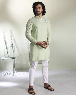 Shop Men's Green Stripe Peri Pauna Embroiderred  Kurta-Front