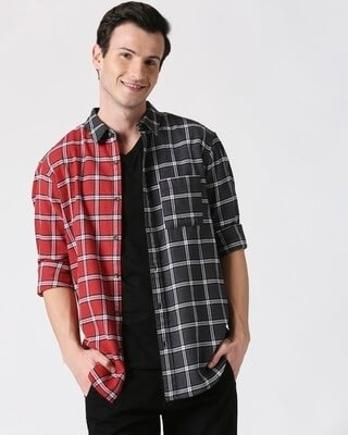 Shop Mens Checks Colorblock Shirt-Front
