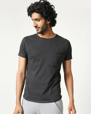 Shop Men's Half Sleeve Anthra Melange Pocket T-Shirt-Front