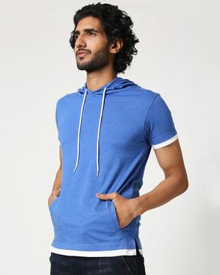 Shop Men's Half Sleeve Hoodie T-Shirt-Front