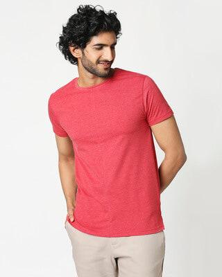 Shop Men's Half Sleeve Melange Cut & Sew T-Shirt-Front