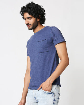 Shop Men's Half Sleeve Navy Melange Pocket T-Shirt-Front