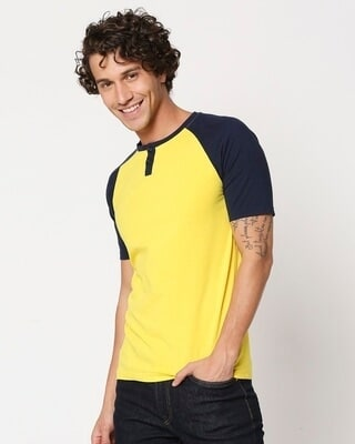 Shop Yolo Yellow Raglan Henley T-Shirt-Front
