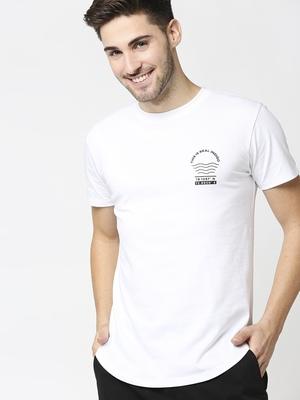 Shop Men's Indigo Printed White Skate Cut T-shirt-Front
