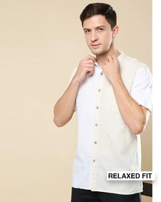 Shop Men's Linen Color Block Half Sleeves Shirt-Front