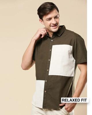 Shop Men's Linen Color Block Pocket Half Sleeves Shirt-Front