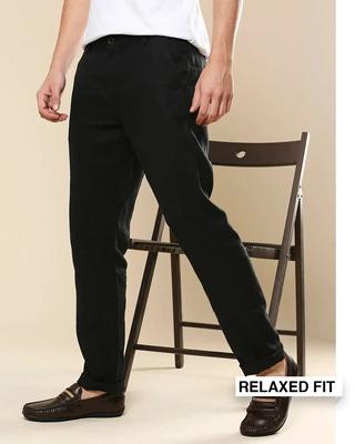 Shop Men's Linen Relaxed Trousers-Front