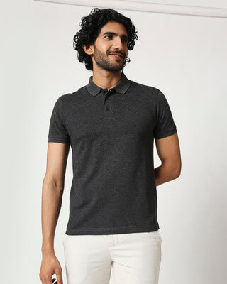 Shop Men's Melange Polo T-Shirt-Front