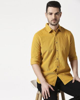 Shop Men's Mustard Casual Slim Fit Corduroy Shirts-Front