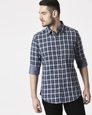 Shop Men's Navy Slim Fit Casual Check Shirt-Front
